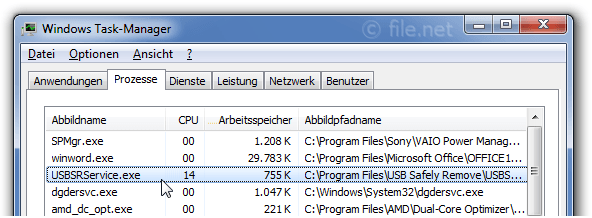 Windows Task-Manager mit USBSRService