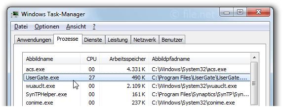Windows Task-Manager mit UserGate