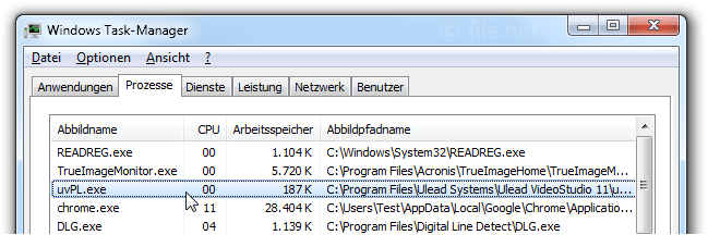 Windows Task-Manager mit uvPL