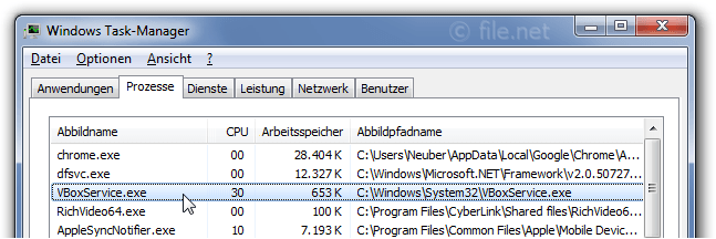 Windows Task-Manager mit VBoxService