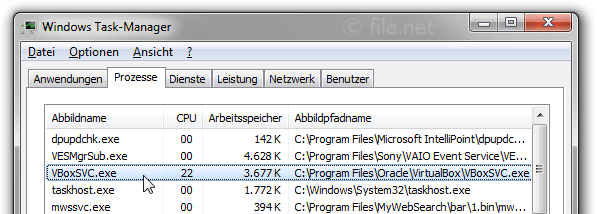 Windows Task-Manager mit VBoxSVC