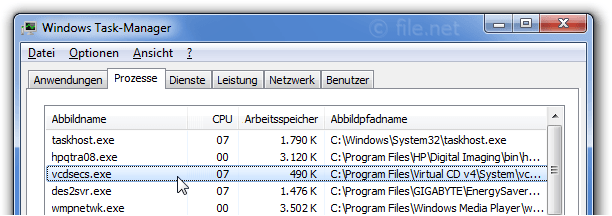 Windows Task-Manager mit vcdsecs