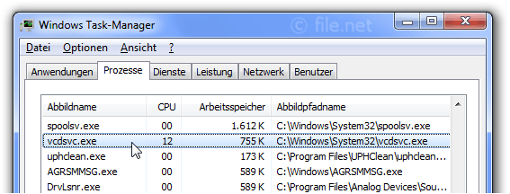 Windows Task-Manager mit vcdsvc