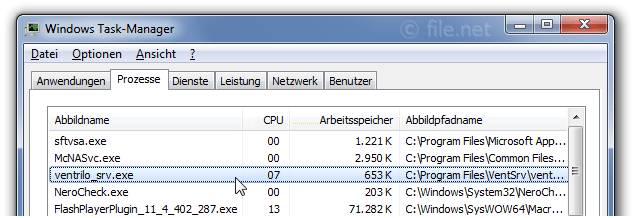 Windows Task-Manager mit ventrilo_srv