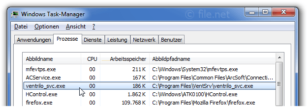 Windows Task-Manager mit ventrilo_svc