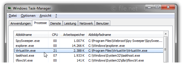 Windows Task-Manager mit VirtuaWin