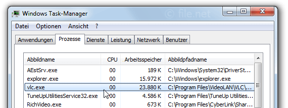 Windows Task-Manager mit vlc