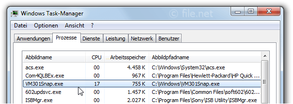 Windows Task-Manager mit VM301Snap