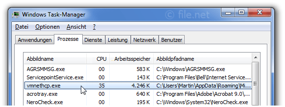 Windows Task-Manager mit vmnethcp