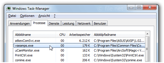 Windows Task-Manager mit vseamps