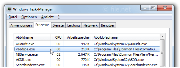 Windows Task-Manager mit vsedsps
