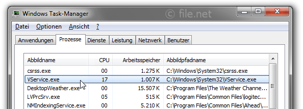 Windows Task-Manager mit VService