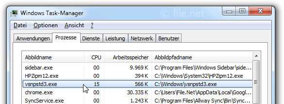 Windows Task-Manager mit vsnpstd3