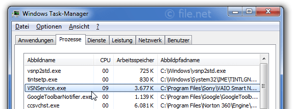 Windows Task-Manager mit VSNService