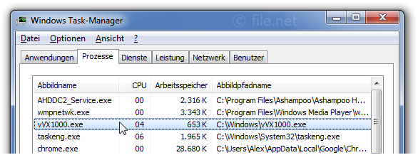 Windows Task-Manager mit vVX1000
