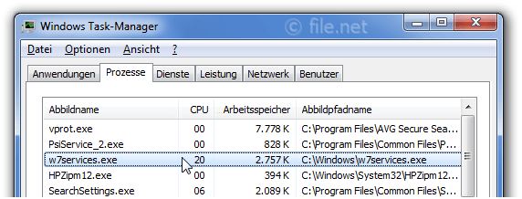 Windows Task-Manager mit w7services