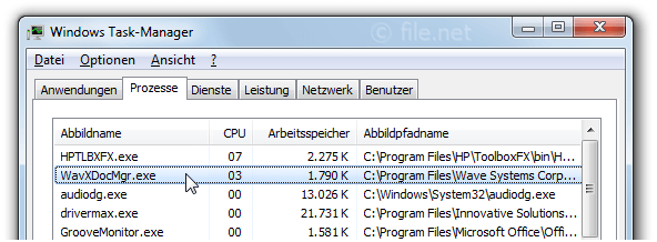 Windows Task-Manager mit WavXDocMgr