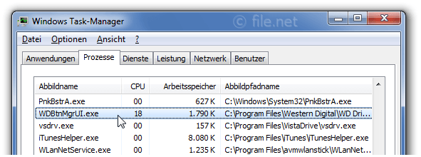 Windows Task-Manager mit WDBtnMgrUI