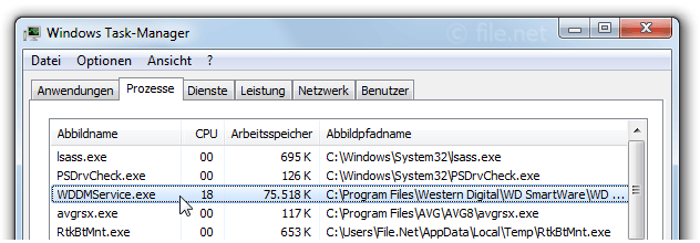 Windows Task-Manager mit WDDMService