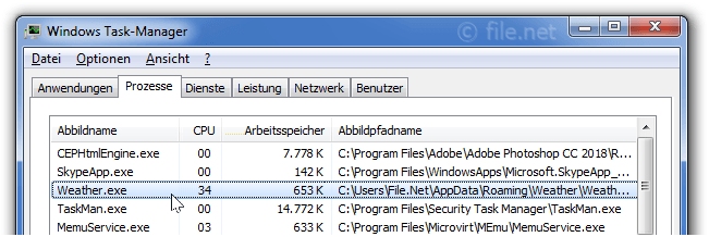 Windows Task-Manager mit weather