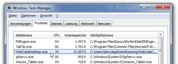 Windows Task-Manager mit WebCakeDesktop