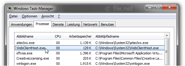 Windows Task-Manager mit WebClientHost