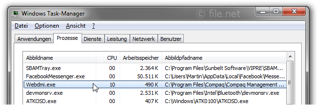 Windows Task-Manager mit Webdmi