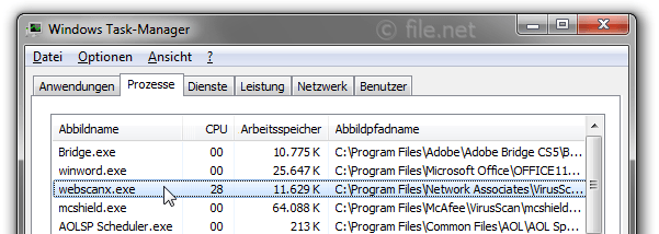 Windows Task-Manager mit webscanx