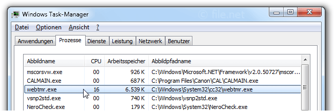Windows Task-Manager mit webtmr