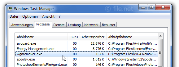 Windows Task-Manager mit wgaremover
