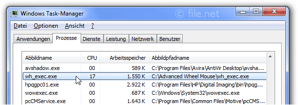 Windows Task-Manager mit wh_exec