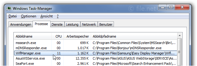 Windows Task-Manager mit WifiManager