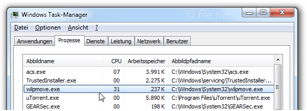 Windows Task-Manager mit wilpmove