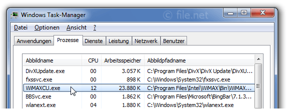 Windows Task-Manager mit WiMAXCU