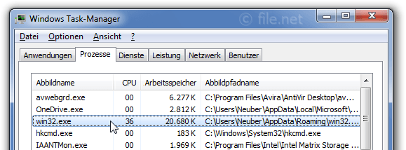 Windows Task-Manager mit win32