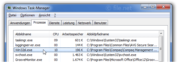 Windows Task-Manager mit Win32sl