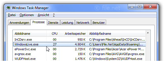 Windows Task-Manager mit WindowsLive