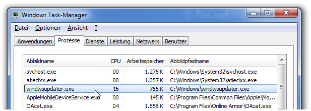 Windows Task-Manager mit windwsupdater