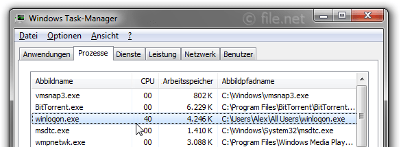 Windows Task-Manager mit winloqon