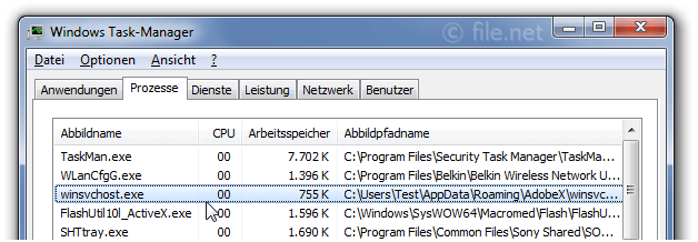 Windows Task-Manager mit winsvchost