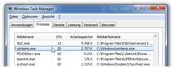 Windows Task-Manager mit wintems