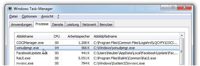 Windows Task-Manager mit winudpmgr