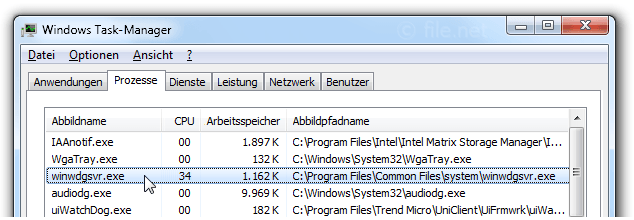 Windows Task-Manager mit winwdgsvr