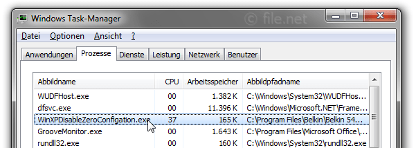 Windows Task-Manager mit WinXPDisableZeroConfigation