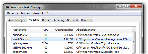 Windows Task-Manager mit WisLMSvc