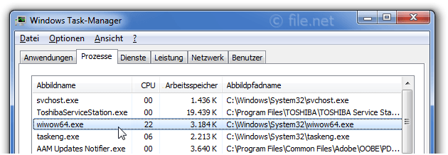 Windows Task-Manager mit wiwow64
