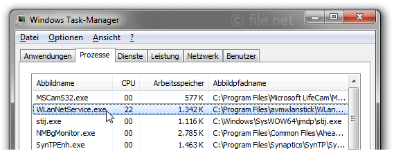 Windows Task-Manager mit WlanNetService