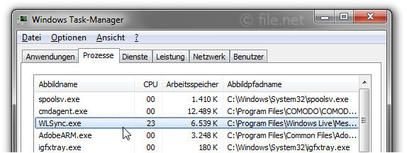 Windows Task-Manager mit WLSync
