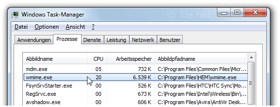 Windows Task-Manager mit wmime