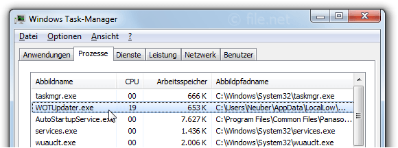 Windows Task-Manager mit WOTUpdater